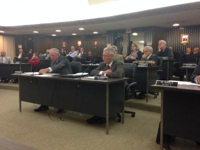 Legislator John Runkle addresses his fellow lawmakers prior to voting no to a CSEA contract during the Nov. 18, 2015 meeting of the Chautauqua County legislature.