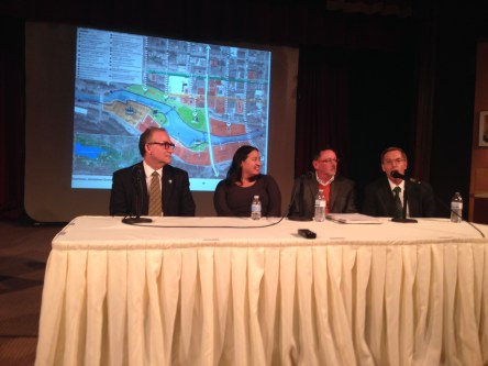 (L to R): Jamestown City Development Director Vince DeJoy, Linda Cheu and Vaughan Davies from AECOM, and Jamestown Renaissance Corporation director Greg Lindquist field questions from the audience.