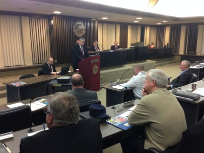 Chautauqua County Executive Vince Horrigan delivers his 2016 State of the County report to the Chautauqua  County Legislature in the legislature chambers in Mayville, NY on Wednesday, Feb. 24, 2016.