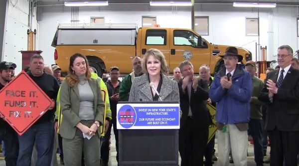 Senator Cathy Young was one of several individuals who spoke during the rally for increased transportation infrastructure aid on Friday, March 4, 2016.