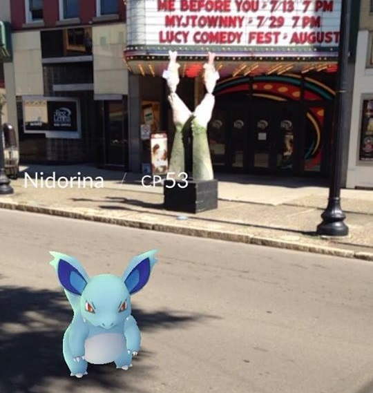 A Pokemon character in downtown Jamestown in front of the Reg Lenna Center for the Arts.
