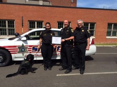 K-9 Laelaps, Correction Officer Amanda Dando, Sheriff Joseph A. Gerace and Captain James E. Crowell