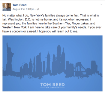 A screenshot of the recent message and accompanying image on the Tom Reed's social media.