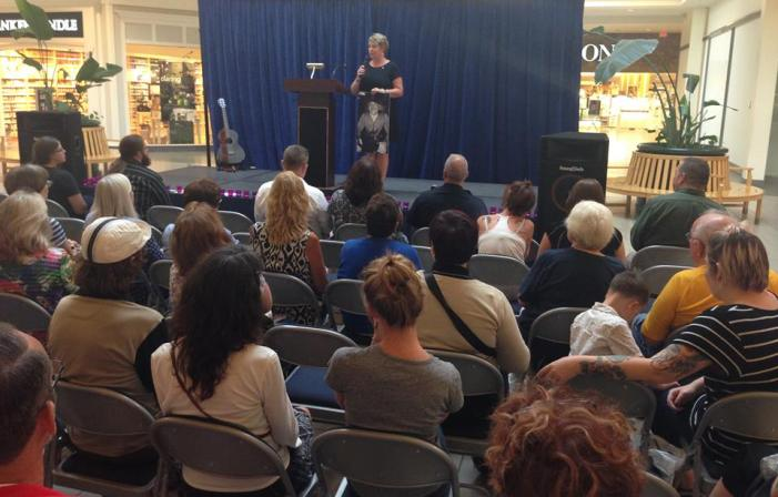Kim Carlson was one of several individuals who spoke during the International Overdose Awareness Day event that took place Wednesday, Aug. 31 at the Chautauqua Mall.