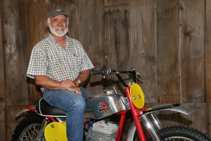"Business owner, vintner, and motorcycle nut Robb Talbott on his 1964 DOT scrambler. ""Somewhere along the way, motorcycles developed into art objects for me. These bikes take your heart. So why not devote a museum to that?"""