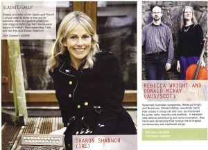 Here we are in the Woodford program, right next to Sharon Shannon!