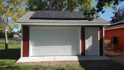 garage with solar panels