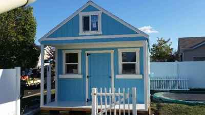 blue playhouse shed