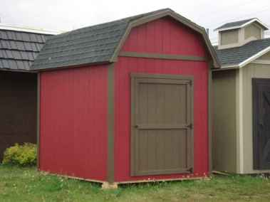 three tone farm style shed with overhangs side