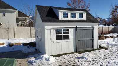 Orchard Shed with Sliding Door and Popout with 3 Windows