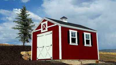 orchard shed front red