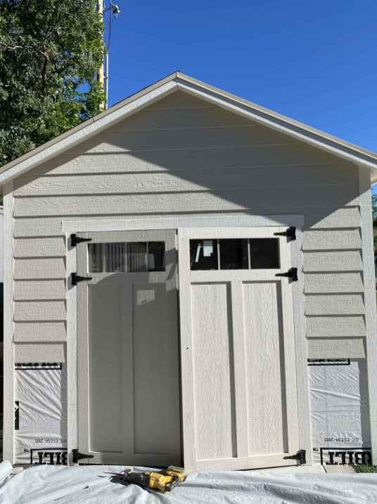 door trim on grey shed