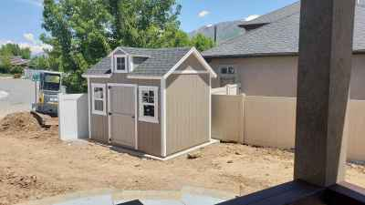 Custom Shed with Dormer over door in Kaysville, Utah - Wright Shed Co.
