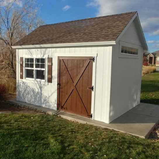 white shed with brown square - Wright Shed Co