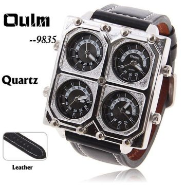EMS-Oulm-9835-Men-s-Quartz-Military-Wrist-Watch-with-4-Movt-Black-25mm-Genuine-Leather