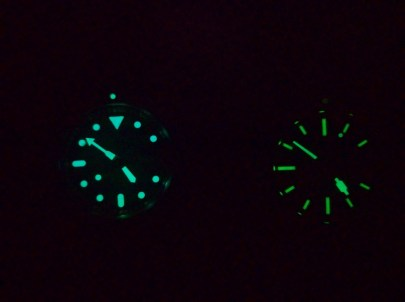 Lume battle: Seiko SKX007 vs. Spinnaker Spence SP-5039. Note how the 007 minute register shines. The Seiko lume is much brighter.