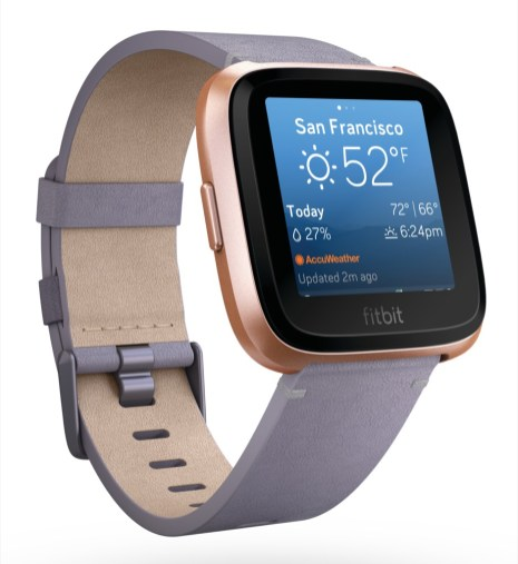 Product render of Fitbit Versa in 3 quarter view in lavender leather with weather on screen