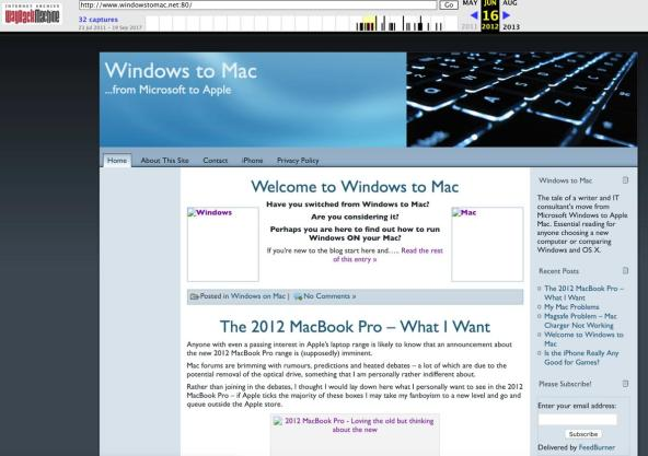 Old WindowstoMac site