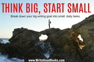 First figure out your big, overlying writing goal. Then set up smaller, daily tasks or goals that will help you reach it.