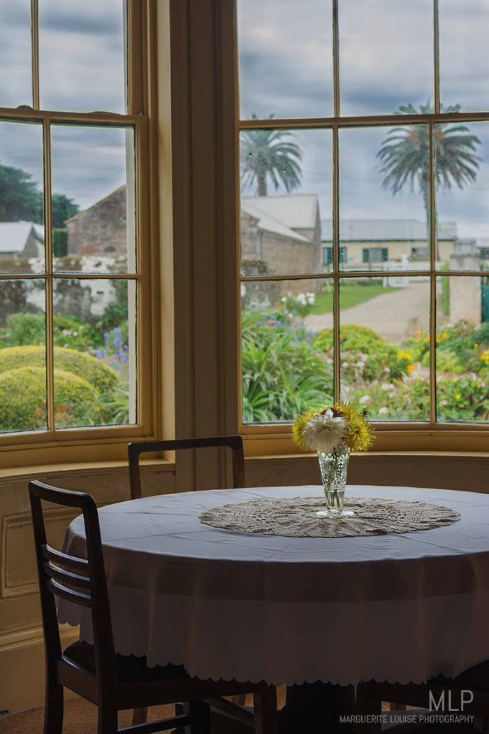 stanley, highfield house, tasmania, table and chairs, gallery, window, gardens