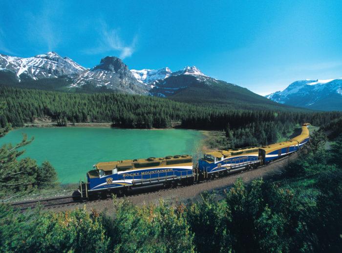 mountains, rocky mountains, canada, train, lake, snow, mountaineer