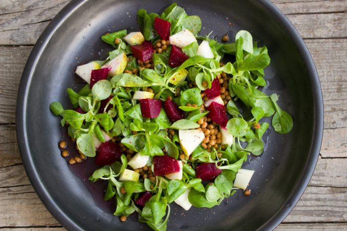 salad, lettuce, beetroot, pear,