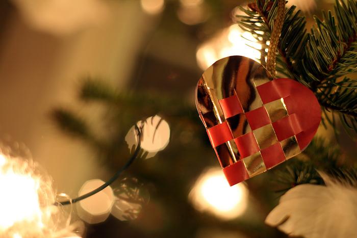 Heart-shaped Christmas ornament.