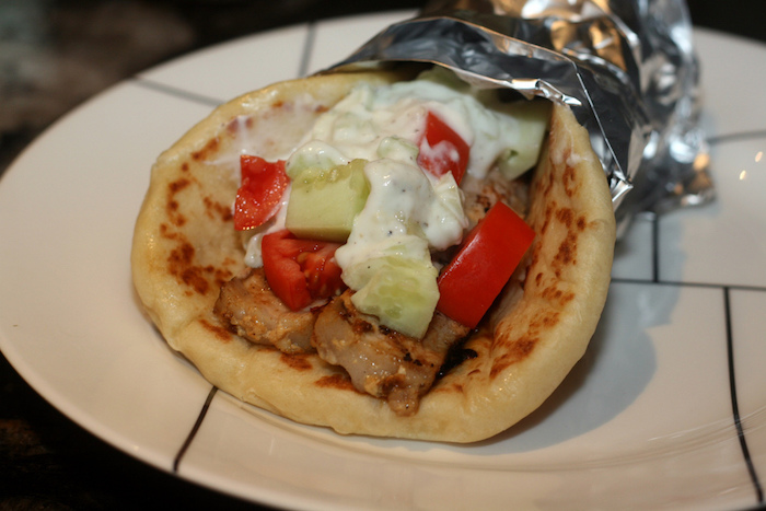 Pork shawarma on a plate.