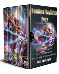 A Ring Realms Novel: Reality's Plaything Saga by Will Greenway boxed set with series cover on front and covers on spine