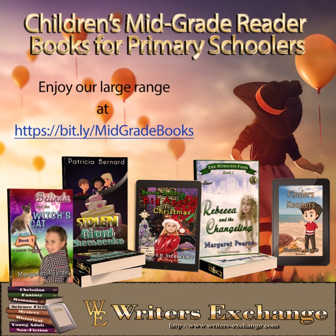 Mid-Grade Reader Square multi-format promo for Belinda Robinson book 1, Giant Stolen Cheesecake, Bernie Bolton book 1, Wingless Fairy Book 1 and Finders Keepers