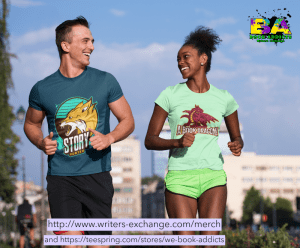 man and lady wearing story hunter and book dragon shirt with both store links