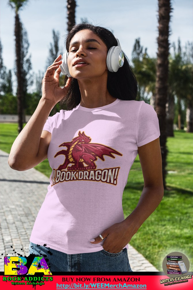 Book Merch: Book Dragon T-Shirts! (Lady in pink shirt)