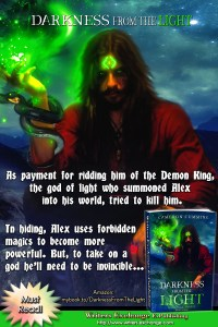 Killing god, Book 1: Darkness from the Light by Cameron Cummins book cover blurb graphic