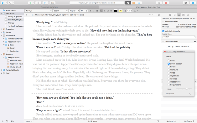 One of Scrivener 3's most useful new features is it's linguistics tool.