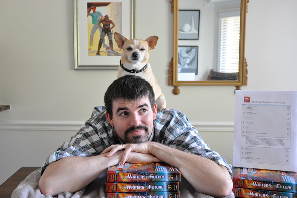Pepe, the dog and Daniel Davis, bestselling author.