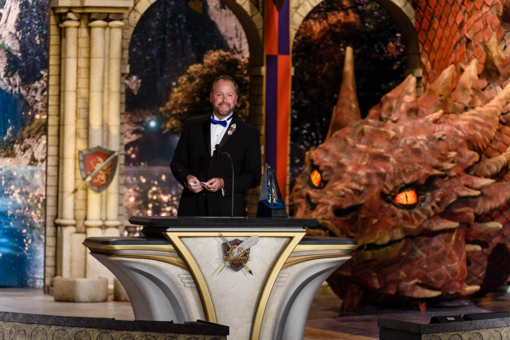 Doug Souza on stage at the historic Wilshire Ebell Theatre in Los Angeles, accepting his award at the 33rd Annual Writers & Illustrators of the Future Awards ceremony