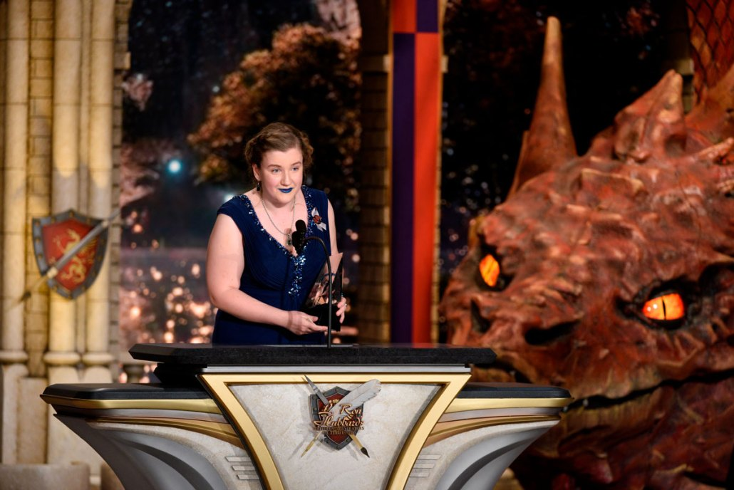 Accepting her Writers of the Future award at the Wilshire Ebell Theatre in Los Angeles