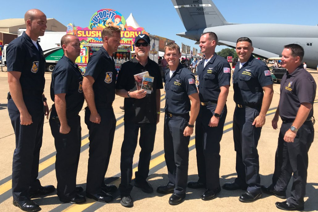 Kevin J. Anderson (center) with the Blue Angels