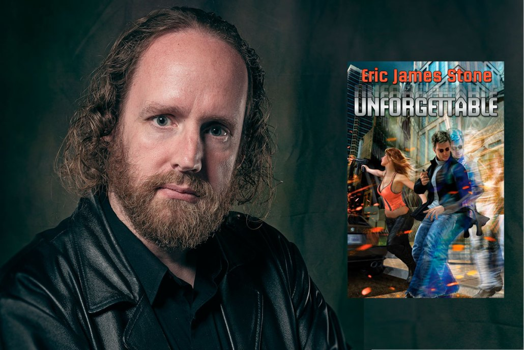 """Eric James Stone with his novel """"Unforgettable"""""""