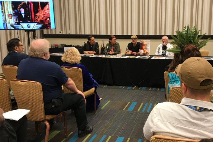 Illustrators of the Future panel with Ciruelo, Echo Chernik, Stephan Martiniere and Larry Elmore