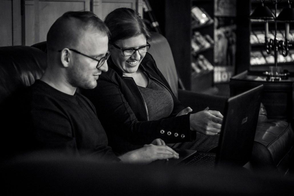 Coordinating judge Echo Chernik with Michael during the Illustrators Workshop