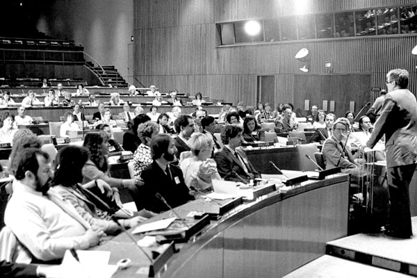 Hans Janitschek, President of the United Nation's Society of Writers, opens the symposium and ceremonies