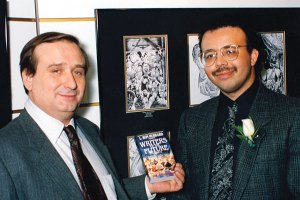 Eric Flint with Anthony Carpenter, the Illustrator winner who provided the artwork for his story.