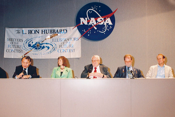 The afternoon NASA symposium: Dr. Yoji Kondo, astronaut Janice Voss, Algis Budrys, Larry Niven and Dr. Doug Beason.