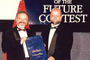 Dave Wolverton presenting Ken Rand his award.