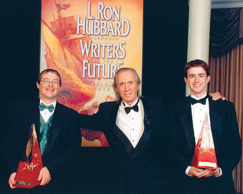 David Carradine with Gold Award winners Matthew Candelaria (writer) and Mike Lawrence (illustrator).