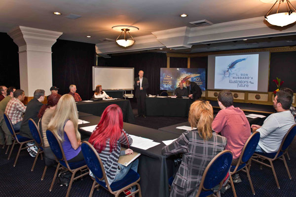 Jim Meskimen speaking at the Illustrators Workshop