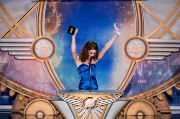 Illustrator winner Jackie Albano on stage.