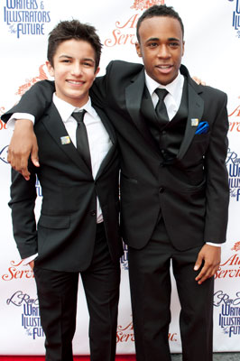 """Guest presenters actors Aramis Knight and Khylin Rhambo from """"Ender's Game."""""""