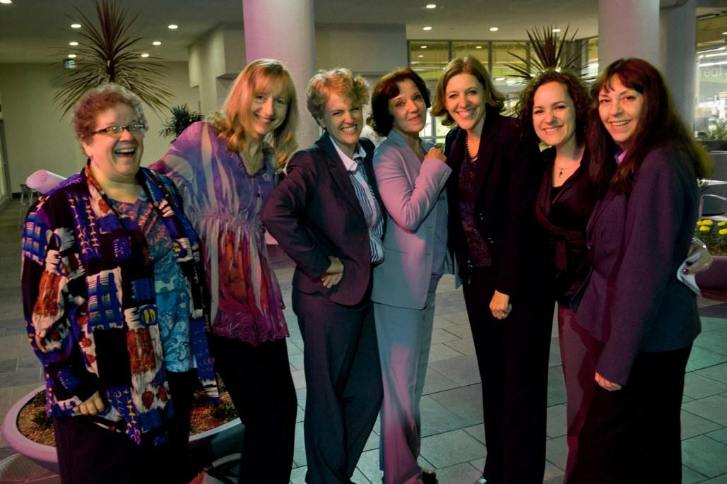Nina Kiriki Hoffman, Val Lindahn and Serena Powers with Galaxy and ASI staff.